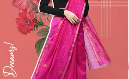 Zari Motif Chanderi Saree With Blouse