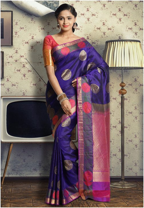 Blue and purple Saree