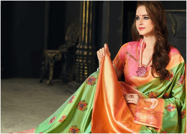 Peach and parrot green sarees