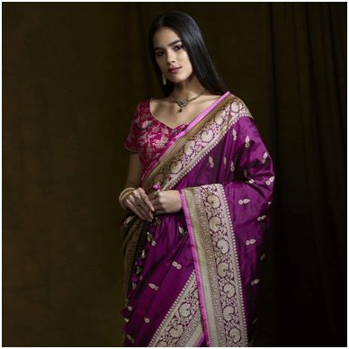 Purple violet and pink Saree