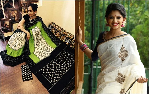 White and black Pattu Saree
