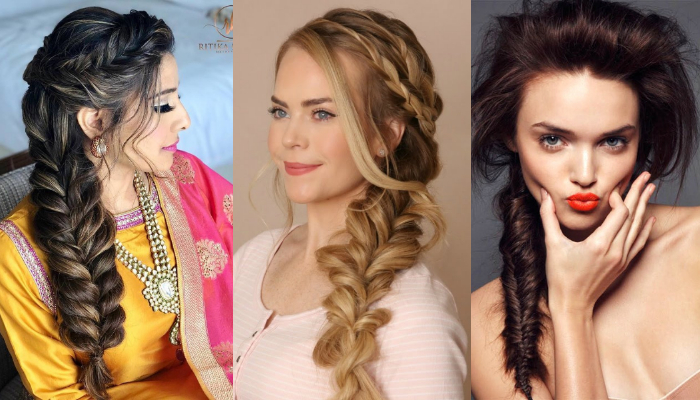 High ponytail with a voluminous braid