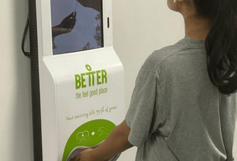 What are the features of a contactless hand sanitiser Station?
